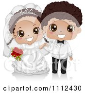 Clipart Happy Cute Black Kid Wedding Couple Royalty Free Vector Illustration by BNP Design Studio