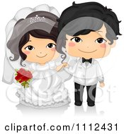 Clipart Happy Cute Asian Kid Wedding Couple Royalty Free Vector Illustration by BNP Design Studio
