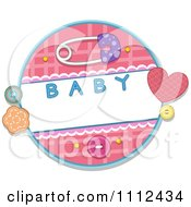 Clipart Baby Safety Pin With Buttons And A Round Frame Royalty Free Vector Illustration by BNP Design Studio
