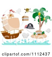 Clipart Pirate Ship And Island With Design Elements Royalty Free Vector Illustration