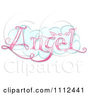 Clipart Cloud With Pink Angel Text Royalty Free Vector Illustration