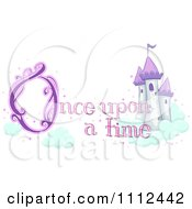 Clipart Castle In The Clouds With Once Upon A Time Text Royalty Free Vector Illustration by BNP Design Studio