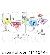 Clipart Party Text On Cocktails Royalty Free Vector Illustration