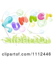 Clipart Bubbles With The Word Summer Over Grass Royalty Free Vector Illustration by BNP Design Studio