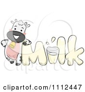 Clipart Dairy Cow Leaning On The Word Milk Royalty Free Vector Illustration