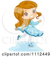 Clipart Cute Happy Girl Ice Skating Royalty Free Vector Illustration by BNP Design Studio