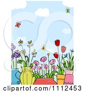 Clipart Background Of Butterflies Over Potted Flower Plants Royalty Free Vector Illustration