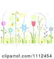 Clipart Beautiful Garden Flowers Over Colorful Dots Royalty Free Vector Illustration