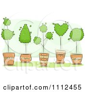 Clipart Potted Topiary Trees Over Green Royalty Free Vector Illustration