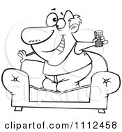 Clipart Outlined Couch Surfer Guy Standing On His Sofa With A TV Remote Control Royalty Free Vector Illustration