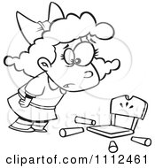 Clipart Outlined Girl Goldilocks With A Broken Chair Royalty Free Vector Illustration