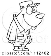 Clipart Outlined Military Gopher Royalty Free Vector Illustration