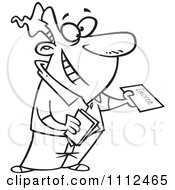 Clipart Outlined Happy Man Handing Out Party Invitations Royalty Free Vector Illustration
