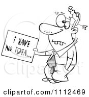 Clipart Outlined Dumb Man With An Arrow Through His Head Holding An I Have No Idea Sign Royalty Free Vector Illustration