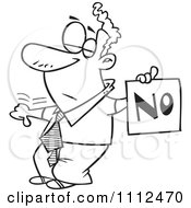 Clipart Outlined Displeased Man With A Thumb Down Holding A NO Sign Royalty Free Vector Illustration