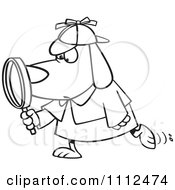 Clipart Outlined Sleuth Dog Using A Magnifying Glass Royalty Free Vector Illustration