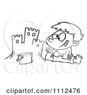 Clipart Outlined Boy Making A Sand Castle On A Beach Royalty Free Vector Illustration
