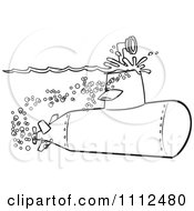 Clipart Outlined Submarine With The Scope Above The Surface Royalty Free Vector Illustration by toonaday
