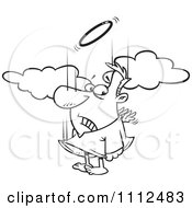 Clipart Outlined Falling Male Angel Trying To Flap His Tiny Wings To Gain Altitude Royalty Free Vector Illustration