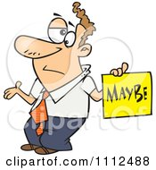 Clipart Careless Man Shrugging And Holding A Maybe Sign Royalty Free Vector Illustration