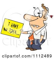Clipart Dumb Man With An Arrow Through His Head Holding An I Have No Idea Sign Royalty Free Vector Illustration