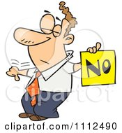 Clipart Displeased Man With A Thumb Down Holding A NO Sign Royalty Free Vector Illustration by toonaday