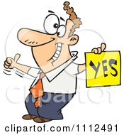 Clipart Displeased Man With A Thumb Up Holding A YES Sign Royalty Free Vector Illustration
