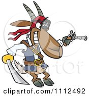 Clipart Pirate Goat Holding A Sword And Pistol Royalty Free Vector Illustration by toonaday