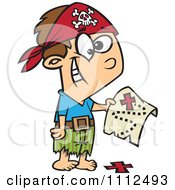 Clipart Pirate Boy Holding A Map Over The X On The Ground Royalty Free Vector Illustration by toonaday