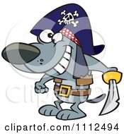 Clipart Pirate Dog Holding A Sword Royalty Free Vector Illustration by toonaday