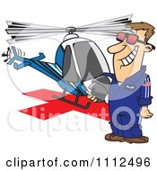 Clipart Proud Helicopter Pilot Man Standing By His Chopper Royalty Free Vector Illustration by toonaday