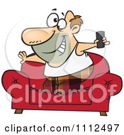 Clipart Couch Surfer Guy Standing On His Sofa With A TV Remote Control Royalty Free Vector Illustration