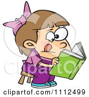 Clipart Girl Trying To Decipher Information In A Book Royalty Free Vector Illustration by toonaday