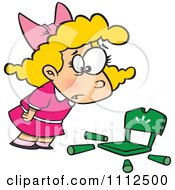 Clipart Girl Goldilocks With A Broken Chair Royalty Free Vector Illustration
