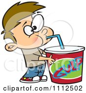 Clipart Boy Taking A Gulp From A Large Fountain Soda Royalty Free Vector Illustration