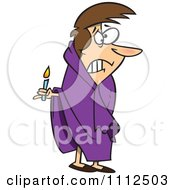 Clipart Scared Woman With A Candle In The Dark Royalty Free Vector Illustration