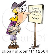 Clipart Hiker At A Youre Hopelessly Lost Sorry Sign Royalty Free Vector Illustration