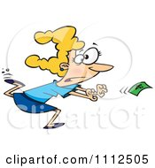 Clipart Woman Chasing Money Royalty Free Vector Illustration