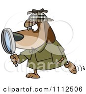 Clipart Sleuth Dog Using A Magnifying Glass Royalty Free Vector Illustration