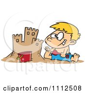 Clipart Boy Making A Sand Castle On A Beach Royalty Free Vector Illustration