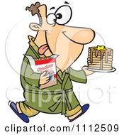 Clipart Man Eating Pancakes And Cracker Jacks For A Midnight Snack Royalty Free Vector Illustration