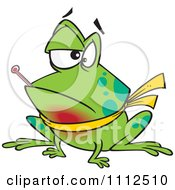 Clipart Sick Frog With A Sore Throat And A Fever Royalty Free Vector Illustration