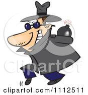Clipart Sneaky Spy Carrying A Bomb Behind His Back Royalty Free Vector Illustration