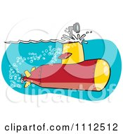 Clipart Submarine With The Scope Above The Surface Royalty Free Vector Illustration by toonaday