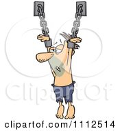 Clipart Male Prisoner Suspended From Chains Royalty Free Vector Illustration by toonaday