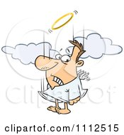 Clipart Falling Male Angel Trying To Flap His Tiny Wings To Gain Altitude Royalty Free Vector Illustration by toonaday