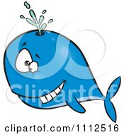 Clipart Happy Blue Whale Spouting Royalty Free Vector Illustration by toonaday