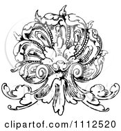 Clipart Vintage Black And White Ornate Scallop Shell Design Element Royalty Free Vector Illustration