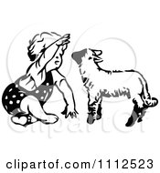 Cute Black And White Retro Toddler Girl Playing With A Lamb