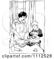 Retro Black And White Mother Cooking With Her Son